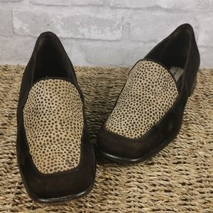 Via Manzoni Brown leopard print loafers shoes